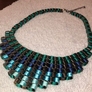 Blue Ombré Ribbon Statement Necklace